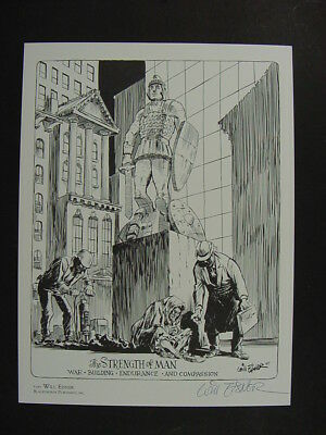 """WILL EISNER Signed Limited Edition Art Print """"THE STRENGTH OF MAN"""" 1500 Produced"""
