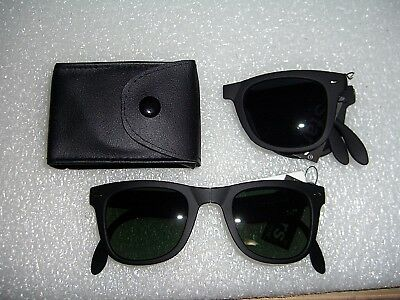 Folding Sunglasses Retro Classic Horn Rim Shades With Dark Lens And Belt Pouch