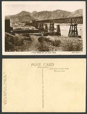 Pakistan India Old Real Photo Postcard Attock Railway Bridge on The River Indus