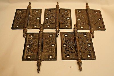 5 Matching Antique Cast Iron  Fancy Steeple Pin 4X4 Door Hinges