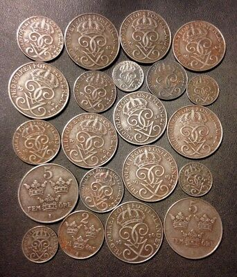 Vintage Sweden Coin Lot - 1944-1950 - 21 Excellent Coins - Lot #D10