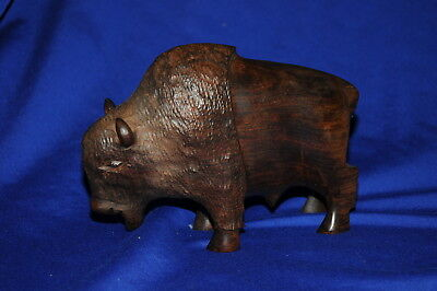 Wooden Carved Buffalo Figurine