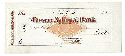 RARE! RN-G1 Revenue SPECIMEN 1880's, Bowery National Bank, NY Sample Check