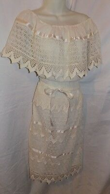 VINTAGE ALL WHITE CROCHET COTTON MEXICAN DRESS off shouder