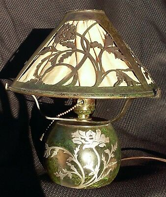 ANTIQUE HEINTZ BRONZE BOUDIOR LAMP Poppy w silver over NR Arts & Crafts Period