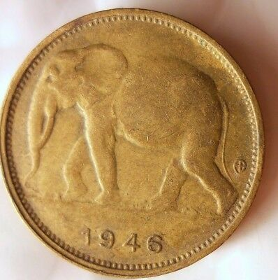 1946 BELGIAN CONGO FRANC - ELEPHANT - Rare Exotic African  Coin - Lot #D10