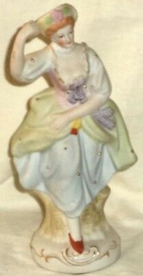 """Occupied Japan Maruyama Bisque Figurine Lady Throwing Ball 7 1/4"""""""