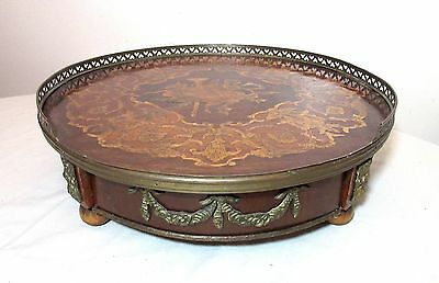 antique handmade marquetry wood brass tantalus centerpiece drink tray stand set