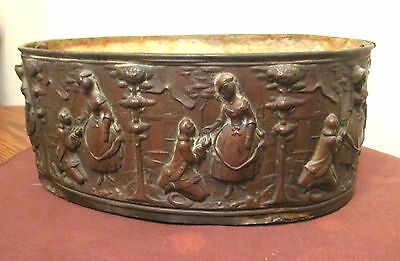 antique ornate 1800's figural bronze oval shaped dimensional planter pot box old