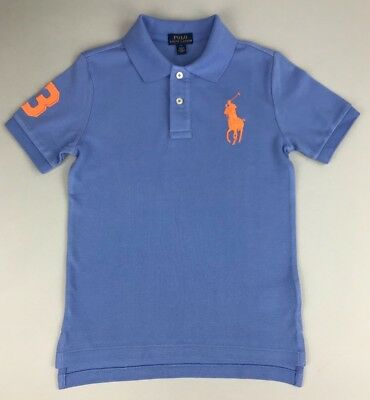 POLO RALPH LAUREN POLO SHIRT Boys Big Pony Cotton Mesh Blue Size: 5, 7 & L 14-16