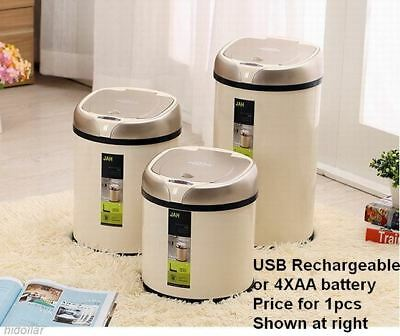 Usb Rechargeable Intelligent Infrared Sensor Automatic Hygienic Bin 12L White