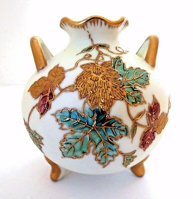 Nippon Heavy Gold Relief Bright Colored Leaves Two Handled 3 Feet Pristine