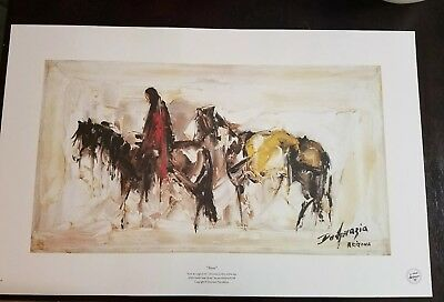 Ted Degrazia Alone Painting Signed Art Horse Arizona Frameable New Gift