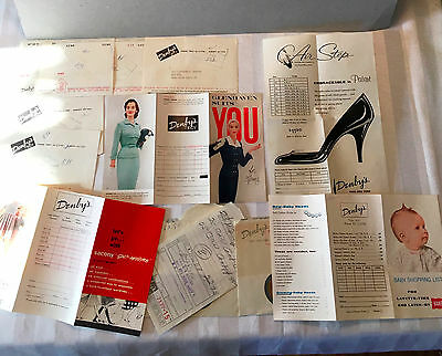 1957 Denby's of Troy NY Ads & bills,mint w/Hanes baby,Glenhaven,AirStep,Sacony