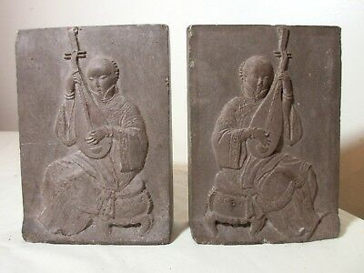 pair of antique hand carved Chinese slate figure pipa stone bookend sculpture