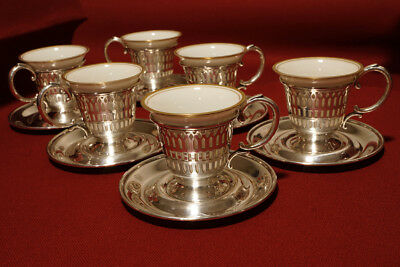 6 Sterling Silver Demitasse Cups and Saucers, Gold-Rimmed Porcelain Inserts