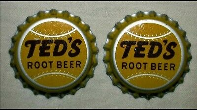6 vintage TED'S ROOT BEER soda BOTTLE CAPS baseball TED WILLIAMS BOSTON RED SOX