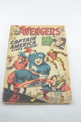 The Avengers #4 GD+  March 1963 Key Issue 1st. App. of Silver Age Captain Americ