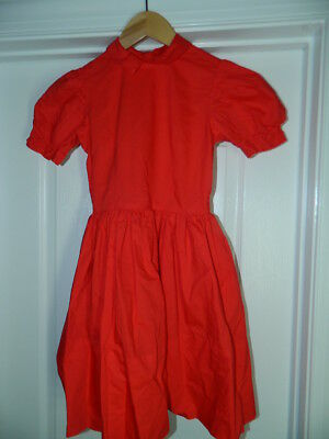 "Vintage Handmade Red Cotton Girls Dress w/Peter Pan Collar | 28"" Chest"