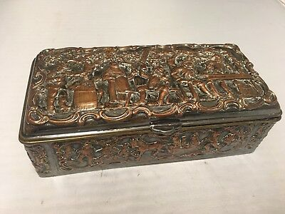 Early Antique DANISH SILVERPLATED REPOUSSE Trinket BOX Hallmarked