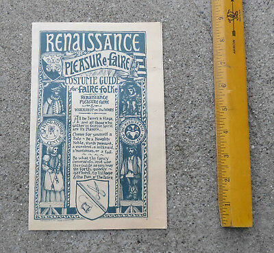 Orig 1977 Renaissance Pleasure Faire Novato Ca Costume Guide for Faire Folke