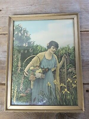 6c5661c5233 Vintage Framed Print IN THE FLOWER GARDEN No. 712 by ART PUBLISHING CO  Chicago