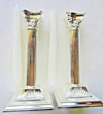 CANDLE STICKS 2 GERMAN SILVER PLATE CORINTHIAN STYLE New