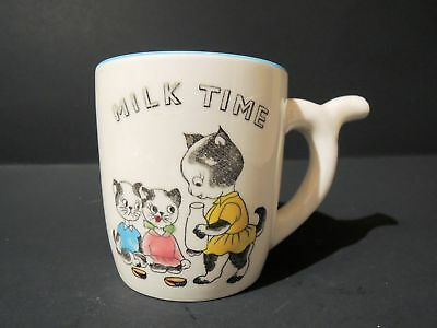 Vintage 1950's Child's Milk Mug with Momma Cat, Kittens, a Straw in the Handle