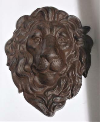 Unusual Cast Iron British Manor House Style LION HEAD wall plaque with hanger