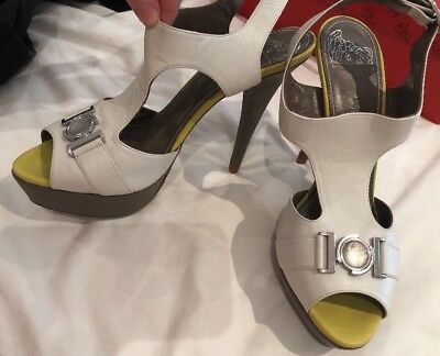 Versace White And Lime Coloured Heels Size 38 Nwt Rpr $437