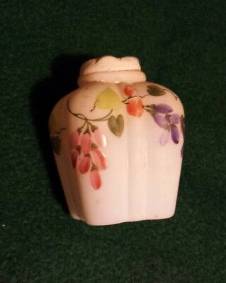 $No Res ANTIQUE Victorian EAPG WHITE SATIN MILK GLASS Handpainted PERFUME BOTTLE