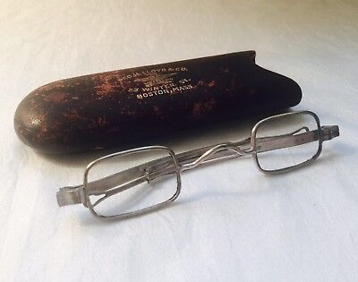 Antique Silver Tone CIVIL WAR Franklin Looking SLIDING TEMPLES Spectacles + Case