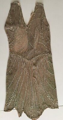 Vintage 1920's Flapper Dress Beads & Rhinstones 3 1/2 lbs. damaged/not wearable