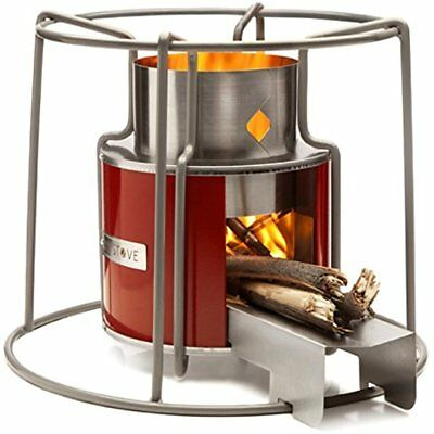 Wood Burning Stove Heater Cooking Camping Beach Portable Outdoor Fire Metal Red