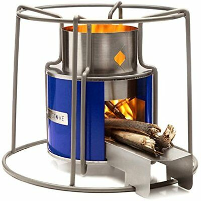 Wood Burning Stove Heater Cooking Camping Beach Portable Outdoor Fire Metal Blue