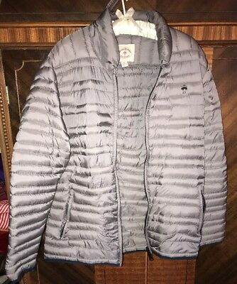 M Brooks Brothers Red Fleece Gray Duck Down Quilted Puffer Coat Jacket New NWOT