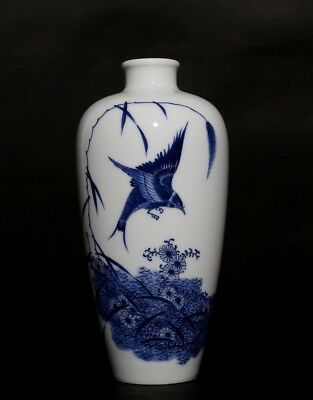 Exquisite Rare Blue And White Chinese Porcelain Bottle Vase Marks FA606