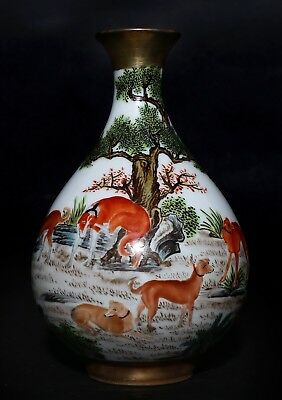 Excellent Vintage Special Chinese Porcelain Bottle Vase Mark Qian Long FA558