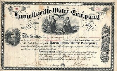 Rare -  Hornellsville Water Company - Stock Certificate - 1883