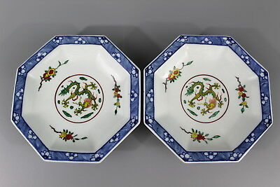 Pair Japanese octagon blue and white porcelain plates.