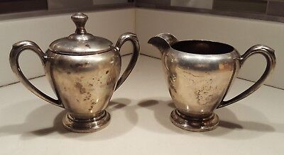 Vintage N.S. Co Sterling Silver Creamer and Sugar Bowl with Lid