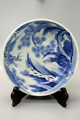 Japanese blue and white dragon and tiger porcelain