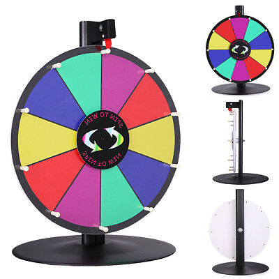 """15"""" Table Top Spinning Prize Wheel 10 Slot Dry Erase Fortune Spin Game"""