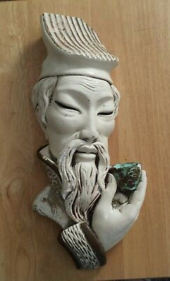 $No Reserve MID CENTURY Retro Chinese Asian Man CHALK WARE Chalkware WALL PLAQUE