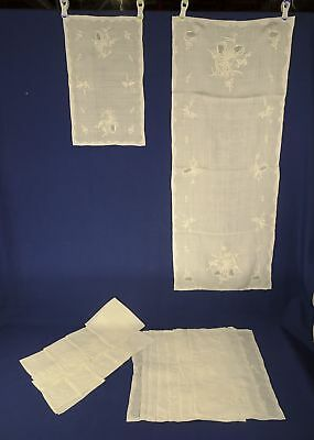 17 pc Antique White Runner, 8 Napkins, 8 Placemats w/Whitework Cutwork Appilique