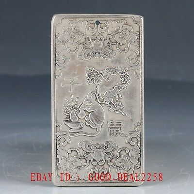 Chinese Collection Tibet Silver Hand Carved Mouse Pendant YP08