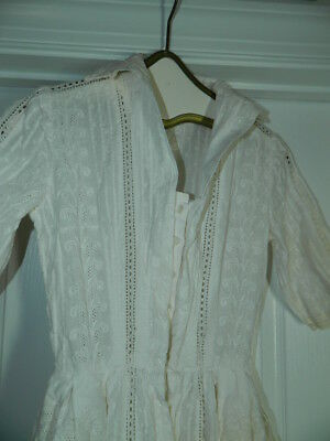 Vintage Handmade White Embroidered & Eyelet Dress with 3/4 Sleeves | Size 4