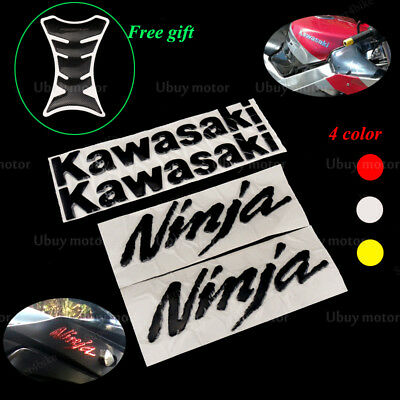 3D Fairing Sticker Tank Decals Emblems For KAWASAKI Ninja ZX-6R ZX10R 250R Black