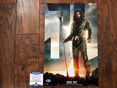 Justice League Jason Mamoa Signed 11X17 Photo BECKETT COA C80440 L@@K PSA WOW