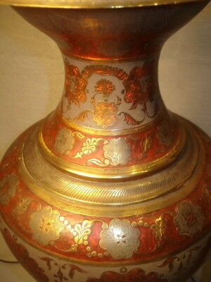 Large Palace Pair Urns Lamps Brass Enameled Incised Antique Vintage